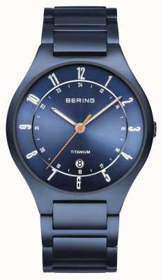Bering Mens titânio | mostrador azul | pulseira azul 11739-797
