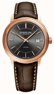 Raymond Weil | mens maestro | pulseira de couro marrom | mostrador cinza | 2237-PC5-60011