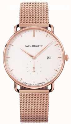 Paul Hewitt Grande relógio de pulseira de malha atlântica PH-TGA-R-W-4S
