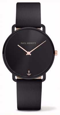 Paul Hewitt | senhoras senhorita oceano | pulseira de couro preto | PH-M-B-BS-32S