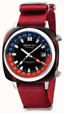 Briston Edição limitada do Clubmaster gmt | automático | pulseira vermelha da OTAN 19842.SA.T.P.NR