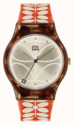 Orla Kiely | relógio bobby das mulheres | caixa preta | Correia de impressão de haste dos anos 60 | OK2316