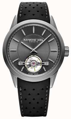 Raymond Weil Mens freelancer discagem automática em cinza | pulseira de borracha preta | 2780-TIR-60001
