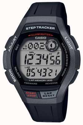 Casio | relógio desportivo, rastreador de passos | pulseira de borracha preta | WS-2000H-1AVEF