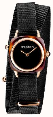 Briston | senhora do clubmaster | correia preta da OTAN preta | concha de tartaruga 19924.PRA.T.1.NB