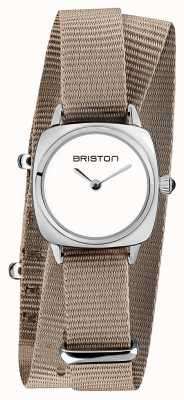 Briston | senhora do clubmaster | cinta de taupe nato simples | mostrador branco | 19924.S.M.2.NT