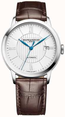 Baume & Mercier | mens classima | automático | couro marrom | mostrador prateado | BM0A10214