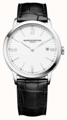 Baume & Mercier | mens classima | pulseira de couro preto | mostrador branco | M0A10323