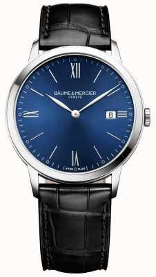 Baume & Mercier | mens classima | pulseira de couro preta | mostrador azul | M0A10324