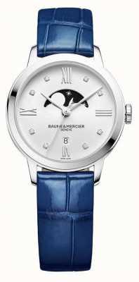 Baume & Mercier | classima das mulheres | couro azul | mostrador prateado da fase da lua | M0A10329