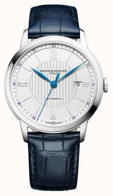 Baume & Mercier | mens classima | automático | couro azul | mostrador prateado | M0A10333