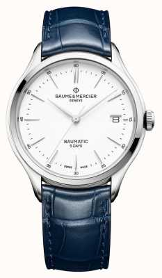 Baume & Mercier | mens clifton | baumática | couro azul | mostrador branco | M0A10398