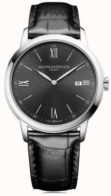 Baume & Mercier | mens classima | couro preto | mostrador cinza ardósia | M0A10416