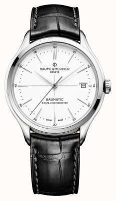 Baume & Mercier | mens clifton | baumático | couro preto | mostrador branco | M0A10436