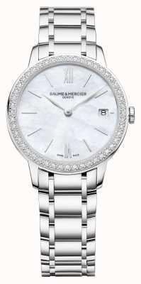 Baume & Mercier | classima das mulheres | moldura de diamante | pulseira de aço inoxidável M0A10478