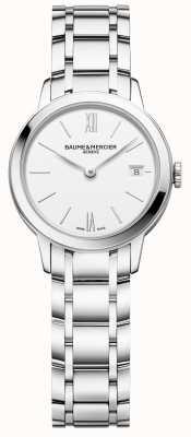 Baume & Mercier | classima das mulheres | pulseira de aço inoxidável | mostrador branco | M0A10489