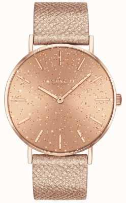 Coach | mulheres | perry | pulseira metálica | discagem de glitter rosegold | 14503322