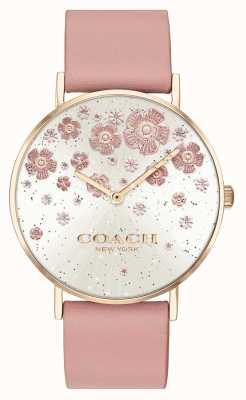 Coach | perry | pulseira de couro blush | mostrador de glitter floral | 14503325