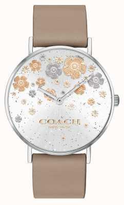 Coach | perry | pulseira de couro de pedra | mostrador de glitter floral | 14503326