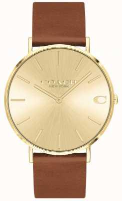 Coach | mens charles | pulseira de couro marrom | mostrador de ouro | 14602433