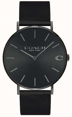 Coach | mens charles | pulseira de couro preto | mostrador preto | 14602434