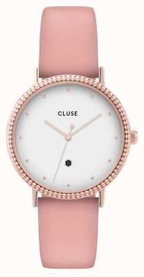 CLUSE | le couronnement | pulseira de couro rosa | mostrador branco | CL63002