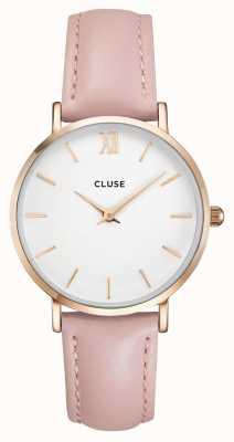 CLUSE | mini-mulheres | pulseira de couro rosa | mostrador branco | CL30001