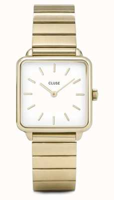 CLUSE | la tétragone | pulseira de ouro único link | mostrador branco | CL60023S