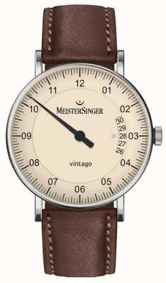 MeisterSinger | mens vintago | automático | couro marrom | mostrador de creme | | VT903