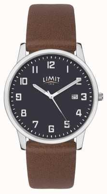 Limit | pulseira de couro marrom mens | mostrador azul | 5743.01