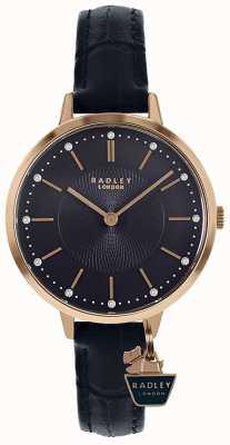 Radley | senhoras subiram caixa de ouro | pulseira de couro azul | RY2798