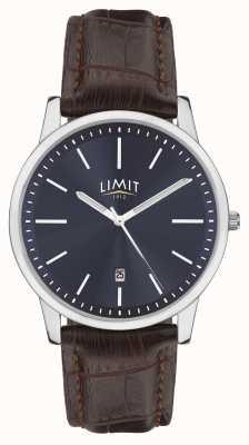 Limit | pulseira de couro marrom mens | mostrador azul | estojo de prata | 5745.01