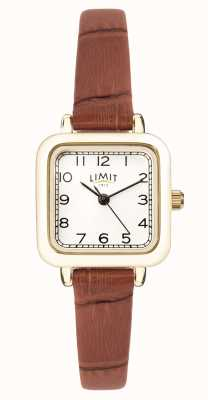 Limit | pulseira de couro marrom das mulheres | mostrador branco | caixa de ouro | 60058.01