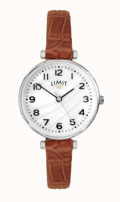 Limit | pulseira de couro marrom das mulheres | mãe de discagem pérola | 60060.01