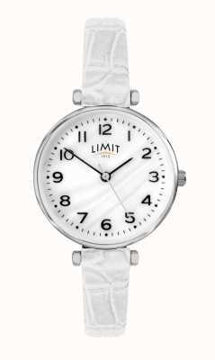 Limit | pulseira de couro branco das mulheres | mãe de discagem pérola | 60061.01