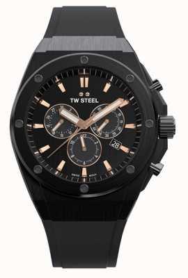 TW Steel Tecnologia ceo | crono | mostrador preto | pulseira de borracha preta CE4044