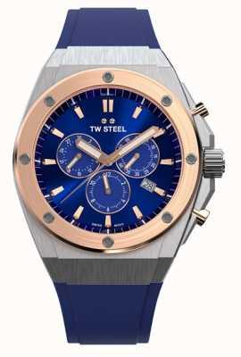 TW Steel Tecnologia ceo | crono | mostrador azul | pulseira de borracha azul CE4046