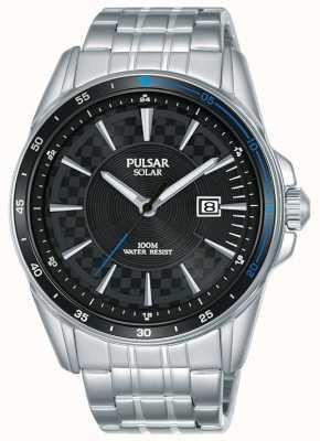 Pulsar | esportes de acelerador | pulseira de aço inoxidável | mostrador preto PX3203X1