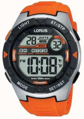 Lorus | mens esportes digitais | pulseira de borracha laranja | R2303NX9