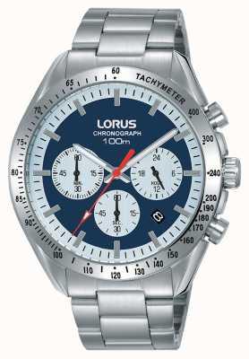 Lorus   cronógrafo mens   pulseira de aço inoxidável   mostrador azul   RT339HX9