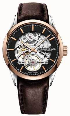 Raymond Weil Freelancer | automático | mostrador de esqueleto | pulseira de couro marrom 2785-SC5-20001