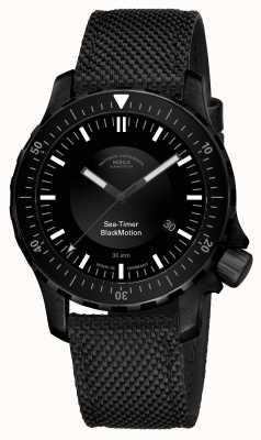 Muhle Glashutte | movimento preto temporizador do mar | pulseira sintética preta | M1-41-83-NB