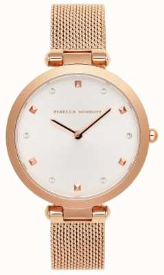 Rebecca Minkoff Nina das mulheres | pulseira de malha de ouro rosa | mostrador branco | 2200301