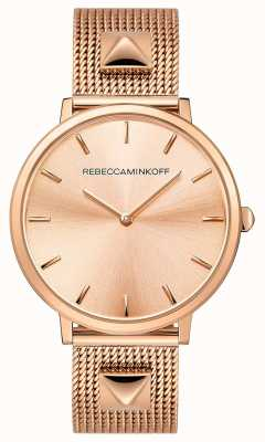Rebecca Minkoff Major das mulheres | malha de rosa banhado a ouro | mostrador em ouro rosa | 2200003