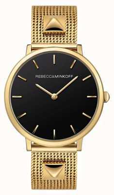 Rebecca Minkoff Major das mulheres | pulseira de malha banhada a ouro | mostrador preto | 2200002