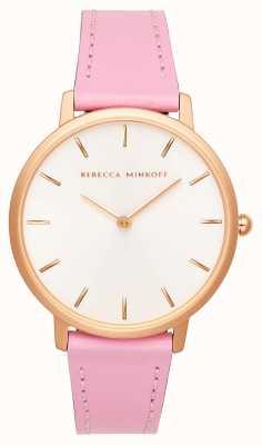 Rebecca Minkoff Major das mulheres | pulseira de couro rosa | mostrador prateado / branco | 2200290
