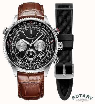 Rotary | mens | relógio de cronógrafo de pilotos | pulseira intercambiável | GS00100/04/KIT