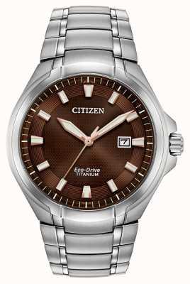 Citizen Relógio masculino com mostrador marrom titânio eco-drive paradigma BM7431-51X