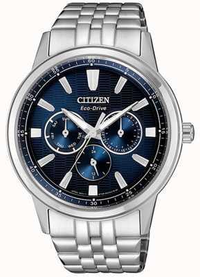 Citizen | mens eco-drive | pulseira de aço inoxidável | mostrador azul | BU2071-87L
