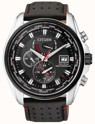 Citizen | tempo de mundo de eco-passeio de mens a | pulseira preta | mostrador preto | AT9030-04E